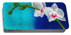White Orchids On Blue Portable Battery Charger by Laura Forde