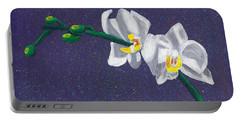 White Orchids On Dark Blue Portable Battery Charger by Laura Forde