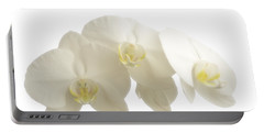 White Orchids On White Portable Battery Charger