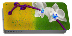 White Orchids On Yellow And Green Portable Battery Charger by Laura Forde