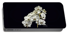 White Orchids Portable Battery Charger by Tom Prendergast