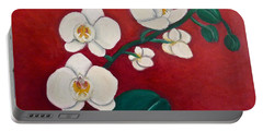 White Orchids Portable Battery Charger by Victoria Lakes