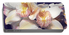 White Orchids Watercolor Portable Battery Charger by Greta Corens