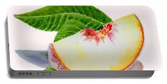 White Peach Slice  Portable Battery Charger by Irina Sztukowski
