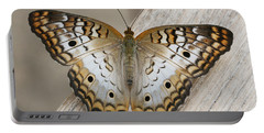 White Peacock Butterfly Portable Battery Charger by Judy Whitton