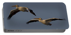 Portable Battery Charger featuring the photograph White Pelican Photograph by Meg Rousher