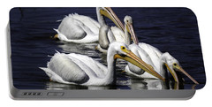 White Pelicans Fishing Portable Battery Charger by Fran Gallogly