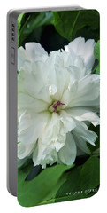 Portable Battery Charger featuring the photograph White Peonese by Verana Stark