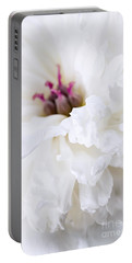 White Peony Flower Close Up Portable Battery Charger