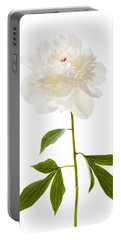 White Peony Flower On White Portable Battery Charger