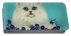 Portable Battery Charger featuring the painting White Persian In Pansy Patch Original Forsale by Bob and Nadine Johnston