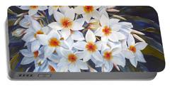 White Plumeria Portable Battery Charger