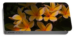 White Plumeria Portable Battery Charger by Miguel Winterpacht