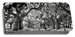 White Point Gardens At Battery Park Charleston Sc Black And White Portable Battery Charger