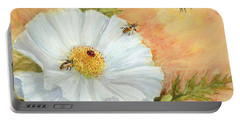 Portable Battery Charger featuring the digital art White Poppy And Bees by Randy Wollenmann
