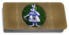 Portable Battery Charger featuring the mixed media White Rabbit Wonderland by Donna Huntriss