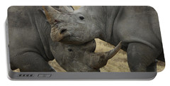 White Rhino Males Fighting Solio Game Portable Battery Charger