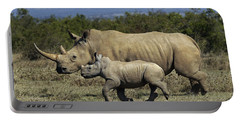 White Rhinoceros And Calf Kenya Portable Battery Charger