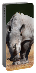 White Rhinoceros  Front View Portable Battery Charger