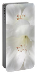 White Rhododendron Flowers Portable Battery Charger