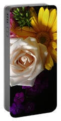 Portable Battery Charger featuring the photograph White Rose by Meghan at FireBonnet Art