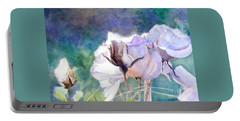 Portable Battery Charger featuring the painting White Roses In The Shade by Greta Corens