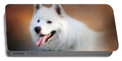 White Samoyed Portrait Portable Battery Charger