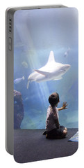 White Shark And Young Boy Portable Battery Charger by David Smith