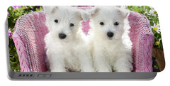 White Sitting Dogs Portable Battery Charger