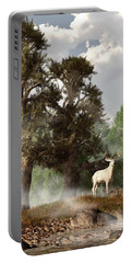 White Stag On A Misty Morning Portable Battery Charger