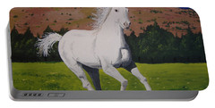 Portable Battery Charger featuring the painting White Stallion by Norm Starks