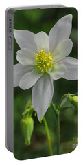 Portable Battery Charger featuring the digital art White Star Flower by Mae Wertz