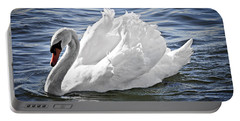White Swan On Water Portable Battery Charger