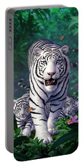 White Tigers Portable Battery Charger by Jerry LoFaro