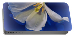 White Tulip On Blue Portable Battery Charger