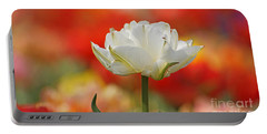 White Tulip Weisse Gefuellte Tulpe Portable Battery Charger
