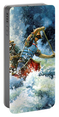 Portable Battery Charger featuring the painting White Water by Hanne Lore Koehler