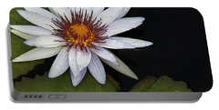 White Water Lily Portable Battery Charger by Yvonne Wright