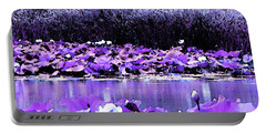 Portable Battery Charger featuring the photograph White Water Lotus In Violet by Shawna Rowe