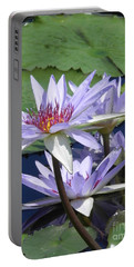 Portable Battery Charger featuring the photograph White Waterlilies by Chrisann Ellis