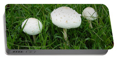 White Wild Mushrooms Portable Battery Charger