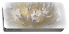 White Peony With A Dash Of Yellow Portable Battery Charger by Sherman Perry