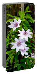 White With Purple Flowers 2 Portable Battery Charger