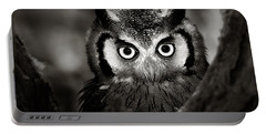 Whitefaced Owl Portable Battery Charger by Johan Swanepoel
