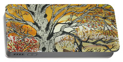 Portable Battery Charger featuring the painting Whitetails And White Oak Tree by Jeffrey Koss