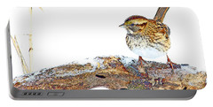 Whitethroated Sparrow On Snow-dusted Tree Branch Digital Art Portable Battery Charger