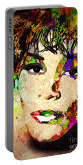 Whitney Houston Portable Battery Charger by Daniel Janda