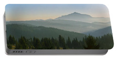 Wide Panorama With Mountains At Sunset In Late November Portable Battery Charger