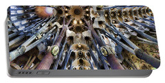 Wide Panorama Of The Interior Ceiling Of Sagrada Familia In Barcelona Portable Battery Charger by David Smith