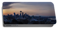 Wide Seattle Morning Skyline Portable Battery Charger